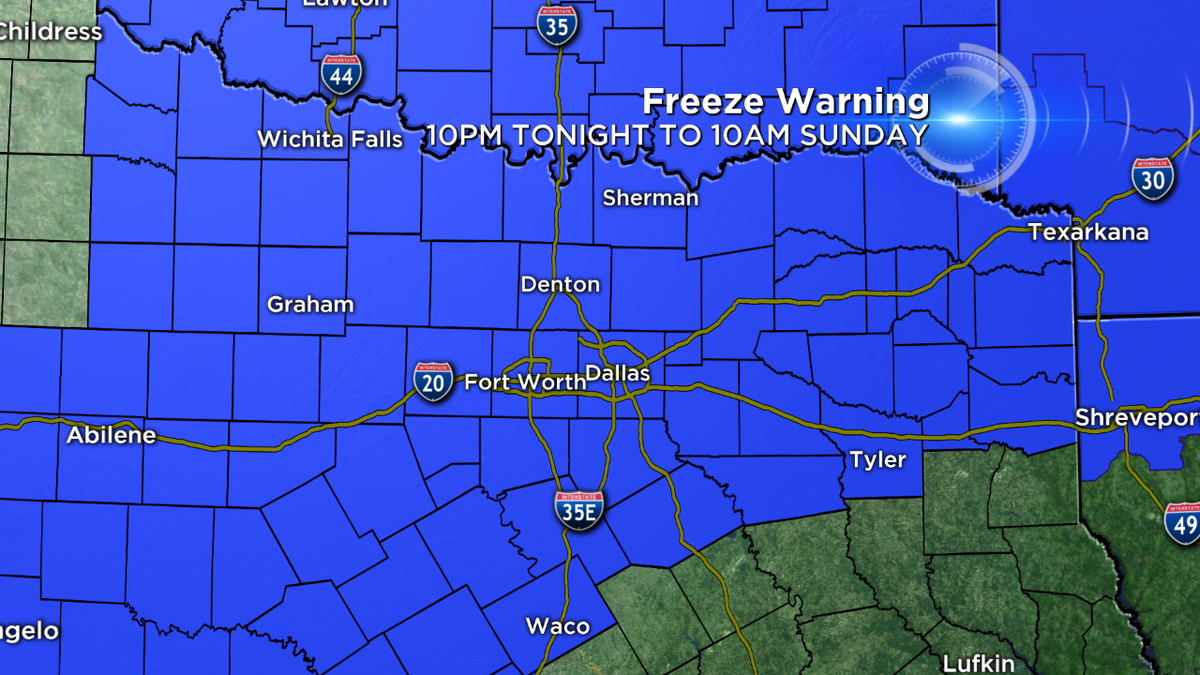 FREEZE WARNING starts at 10pm for most all of North Texas. Bring in or cover sensitive plants & turn off sprinklers https://t.co/uU2mDlRHo0