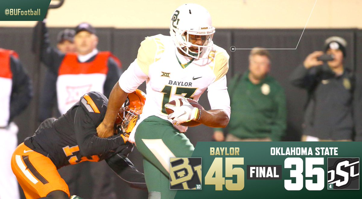 Years in the making. No. 10 Baylor goes into Stillwater and knocks off unbeaten No. 4 Oklahoma State by 10. #SicOSU https://t.co/dTbYC2f9bq