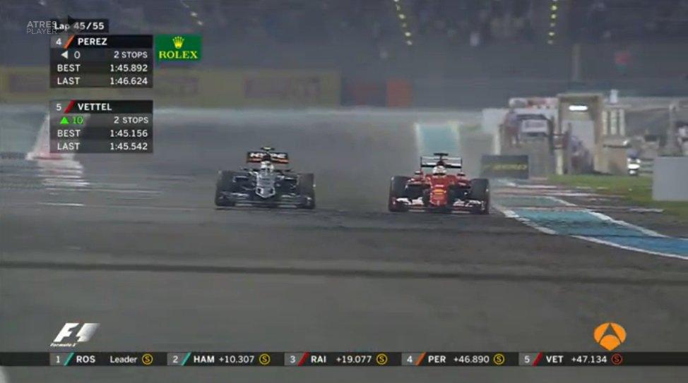 Vettel supera Perez per la quarta posizione,