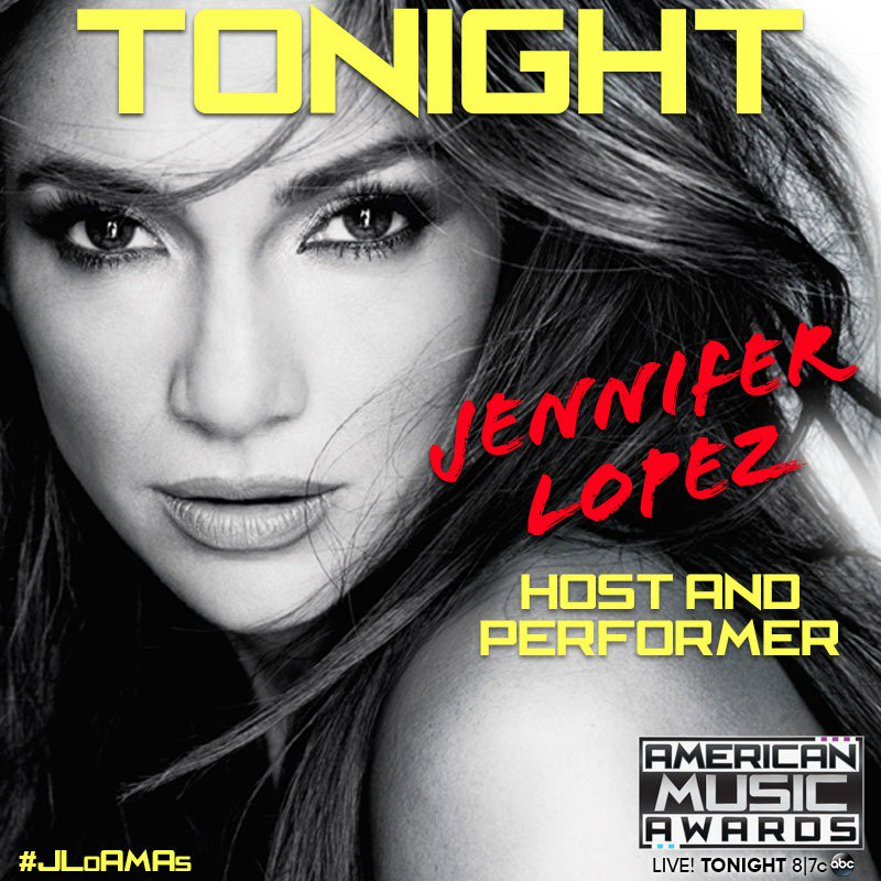 Get ready! @JLo will kick off tonight's @TheAMAs with a performance and is hosting the show live, 8/7c on ABC #AMAs https://t.co/Wpm5ldrzJR