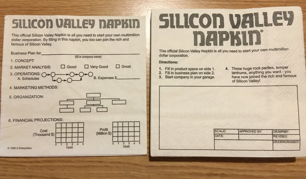 Silicon Valley napkin. ©1986 https://t.co/2HBqYjrgde