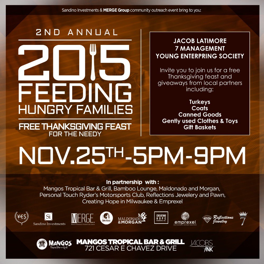 @jacoblatimore @YoungESociety MILWAUKEE TEAM UP FEEDING THE HUNGRY FROM 5pm to 9pm LETS BE OPEN TO HELP ONE ANOTHER. https://t.co/cTNubGVppN