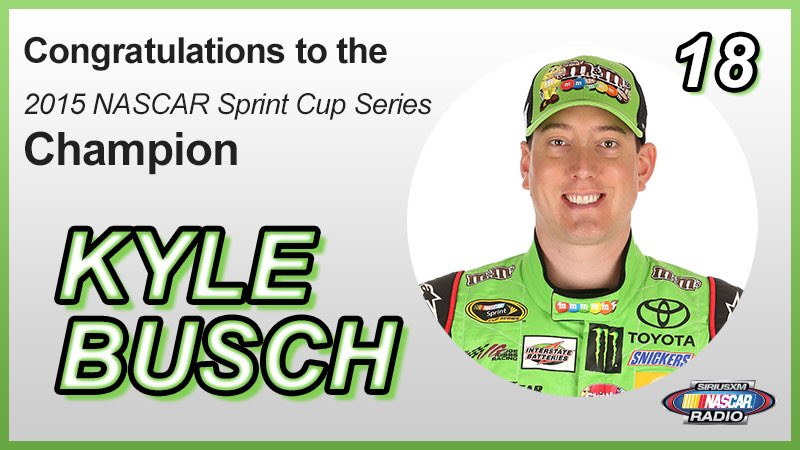 Congratulations to @KyleBusch and @JoeGibbsRacing on winning the 2015 @NASCAR Sprint Cup Series Championship! https://t.co/2M47Q5wDOy