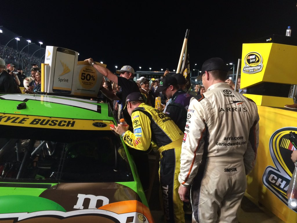 All three of KB's @JoeGibbsRacing teammates went to the stage to congratulate him once he pulled up to the stage.