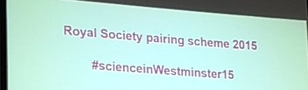 The @royalsociety pairing scheme is about to kick off. #Science #policy interface today #scienceinwestminster15 https://t.co/vqVUiadWqa