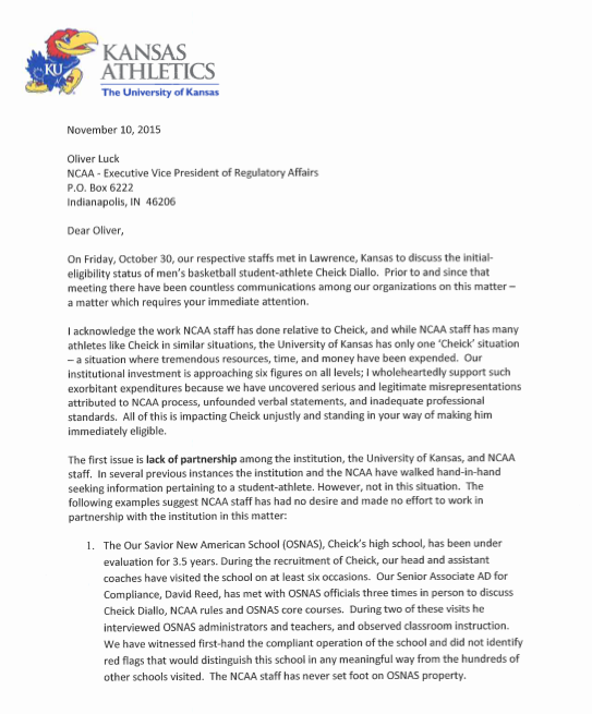 Read the 6-pg letter KU A.D. Sheahon Zenger sent the NCAA regarding Cheick Diallo: https://t.co/iFspG8Iirm #kubball https://t.co/2zVhSQMTsN