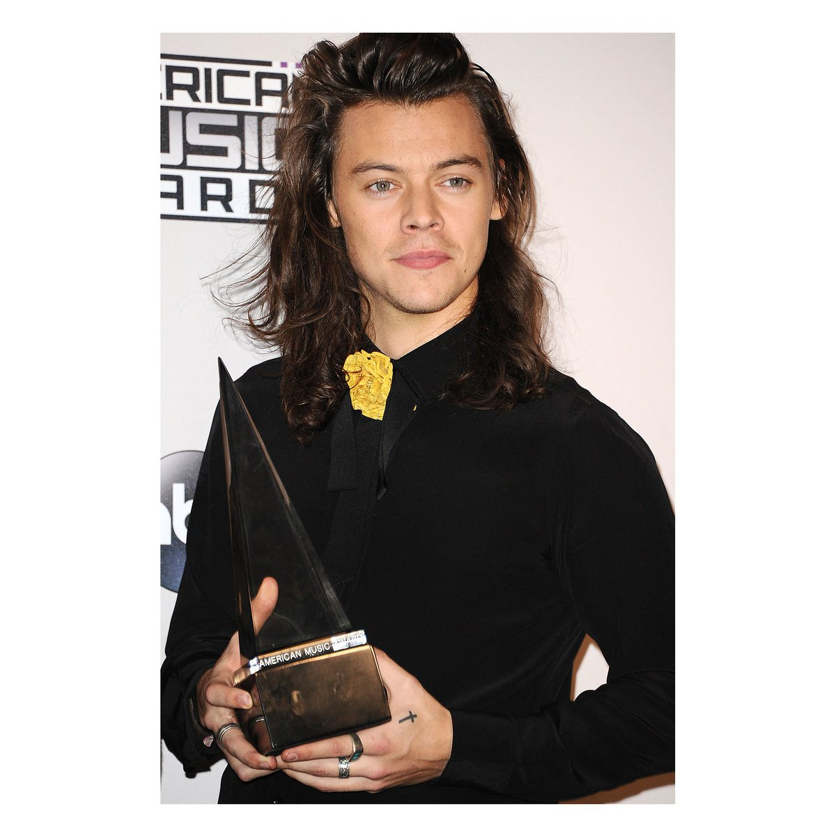 To accept @onedirection's awards onstage at @TheAMAs, Harry Styles wore a #GucciSS16 neck bow and yellow flower. https://t.co/aK9I7pzexP