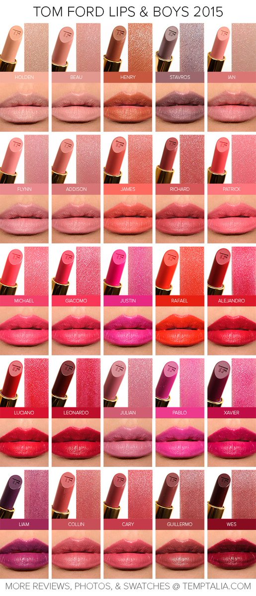 New! Sneak Peek: Tom Ford Lips & Boys 2015 Swatches & Photos (Returning Shades) https://t.co/yOiO8lWTze https://t.co/UGxaszQiRj