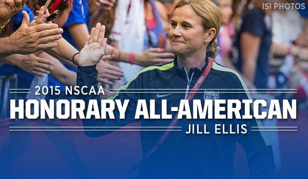World Cup-Winning Coach, Jill Ellis, named 2015 #NSCAA Honorary All-American https://t.co/V5zwctChUI (#BmoreNSCAA) https://t.co/kzLV8kwfLc