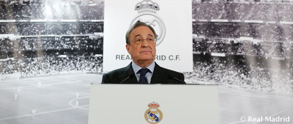 Rueda de prensa de Florentino Pérez ratificando a Benítez