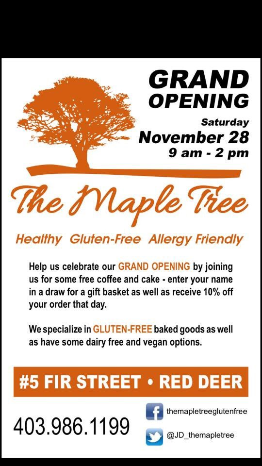 It's The Maple Tree's Grand Opening this Saturday from 9-2! #coffee #cake #glutenfree #RedDeer https://t.co/s0RkJ5kxuA