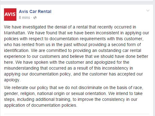 .@Avis reverses course and apologizes to Israeli customer & deletes previous post where it blamed customer https://t.co/jYLsTTJCrM