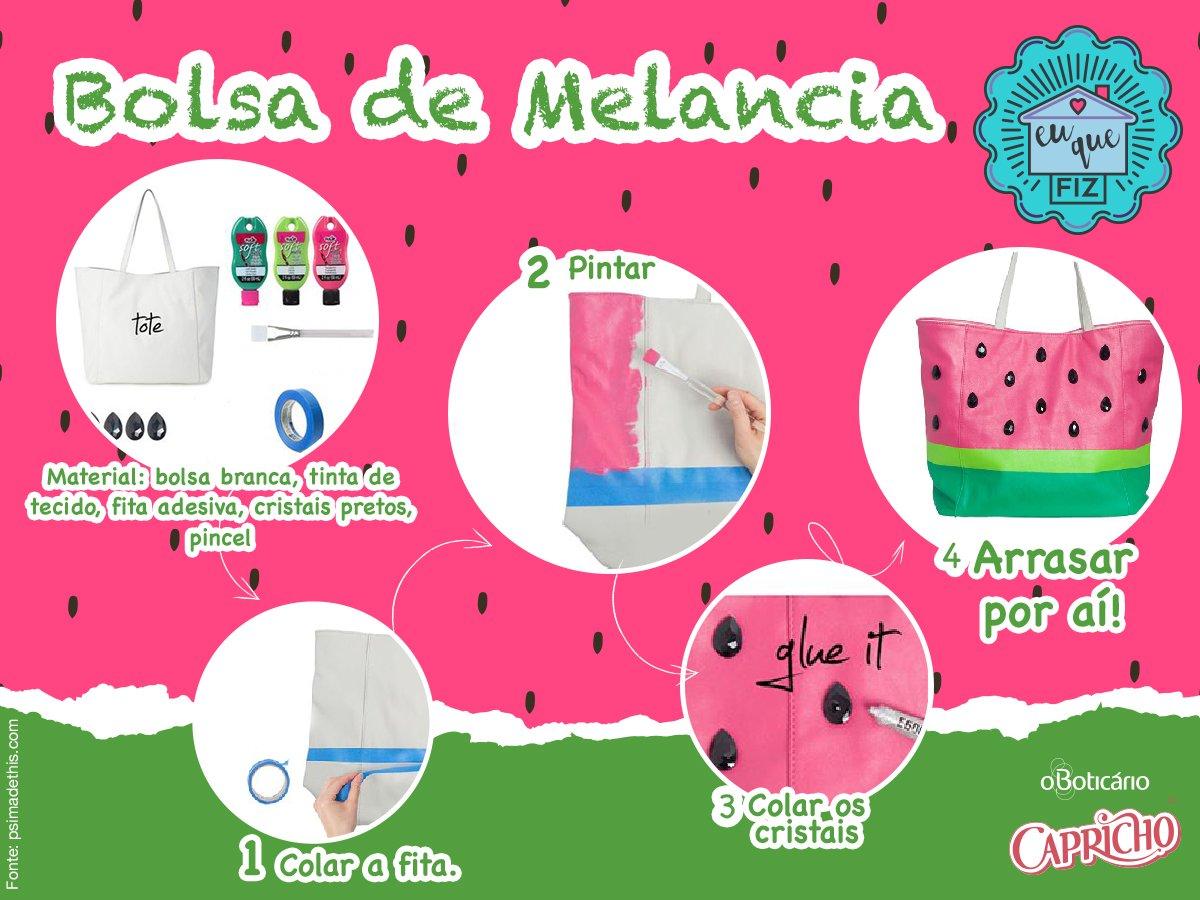 Bolsa de melancia: um acessório fofo e fashion :D Vem aprender como faz! #EuQueFiz #OBoticarioCH https://t.co/oX19LIELnx