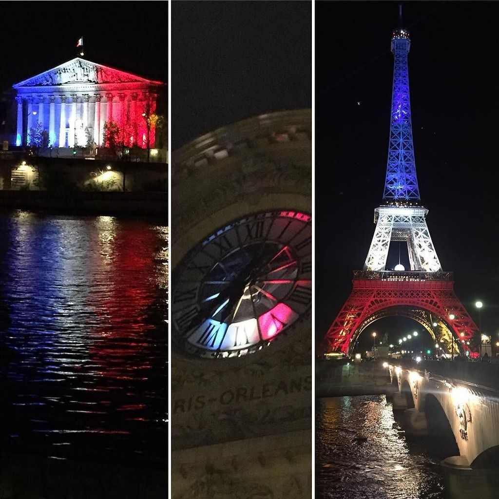 All of Paris is lit up in red, white, and blue. So beautiful. #prayforparis #Paris #France #birthdaytrip https://t.co/zODulBUAYq