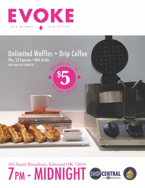 UCO Students - December 6 + 7, 7p-midnight. We want you to come study with $5 UNLIMITED waffles and drip coffee! https://t.co/XBiacKZNfo