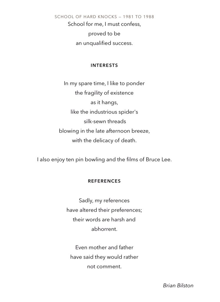 michael nielsen on twitter writing a curriculum vitae a poem