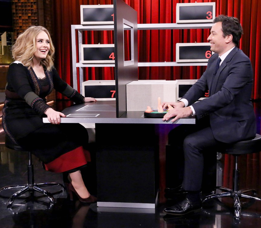 Adele wore a #Valentino Spring 2016 black embroidered dress on @FallonTonight!
