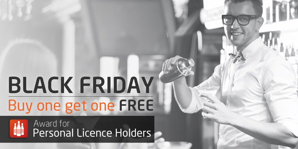 RT @cpltraining: Buy one, get one FREE on your #PersonalLicence course  #BlackFriday #Ukpubs #hospitality T&C's apply https://t.co/NvEPMWvJ…