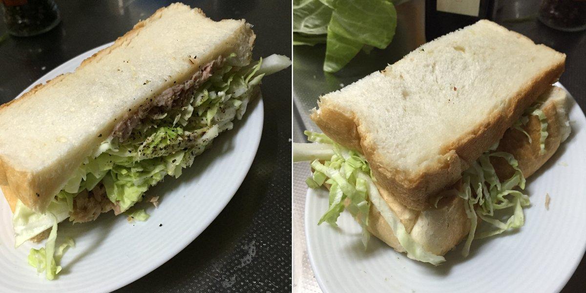 は~(つω`)「料理苦手なキャラが初めて作ったサンドイッチ」とか描く時の資料にどうぞ…。味はフツーにおいしいです