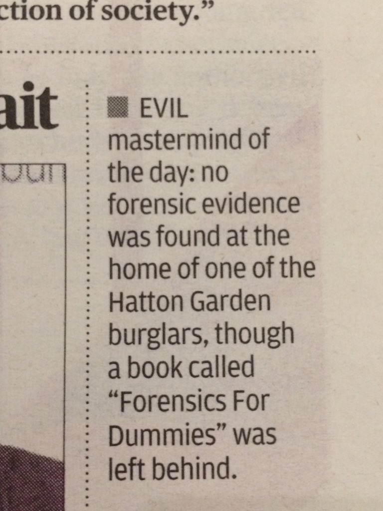 My favourite detail from the #HattonGarden robbery @standardnews https://t.co/FD5CUkyOMh