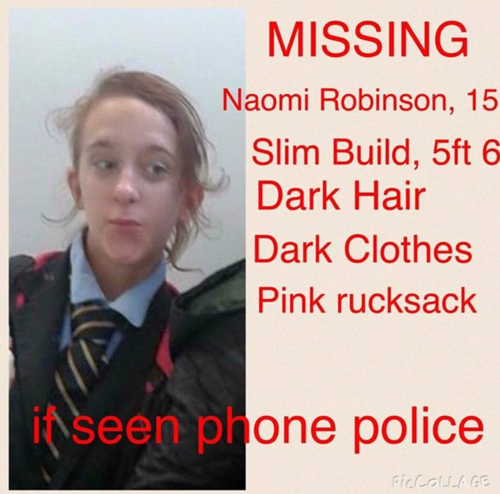 Please will all my followers RT Naomi lives in my area of Prestwich and has gone missing @alidaly40