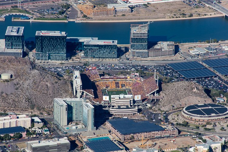Look at all that maroon and gold! Aerial photo of #Tempe during Territorial Cup #ASUfootball game. Sun Devil Pride! https://t.co/WIbjDMaPio