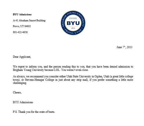 I found her acceptance letter from BYU (HuskerFan2)   CougarBoard.com
