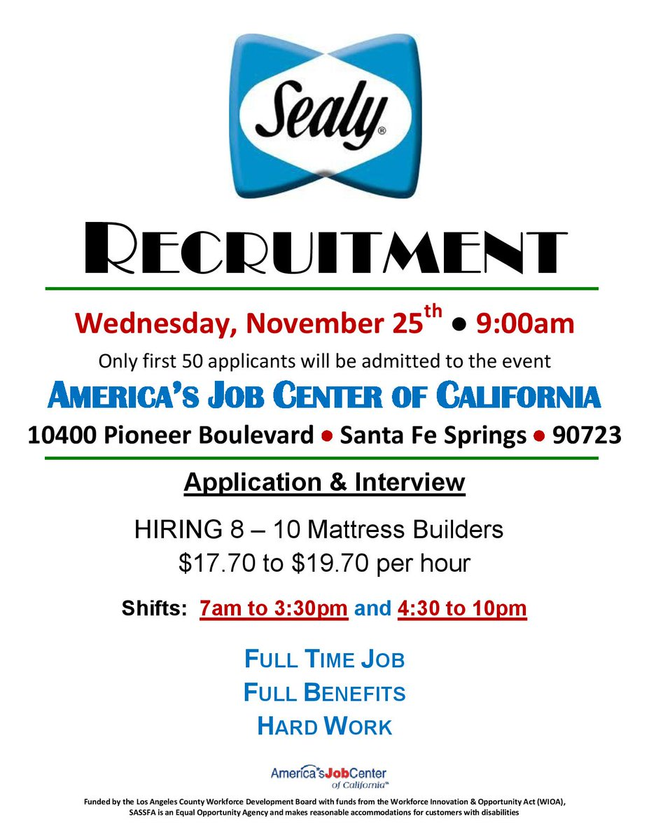 Do not miss this recruitment tomorrow! It is first come first serve; positions starting at $17.70/hr #workforce