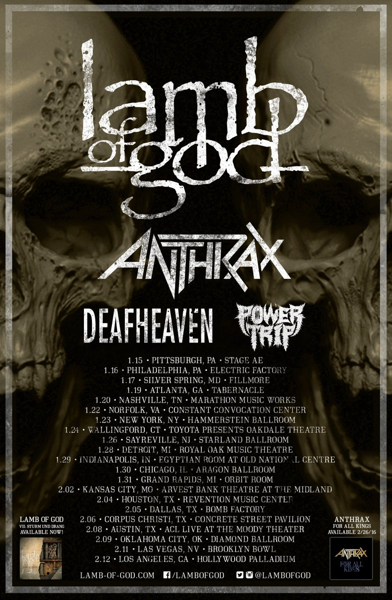 POWER TRIP Confirms 2016 Tour @lambofgod @Anthrax @deafheavenband https://t.co/GgGEAzF4z6 @powertriptx @TwatterLord https://t.co/IaRRRf5Iom