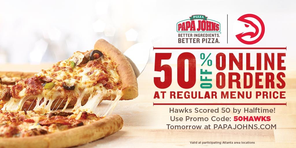 image about Papa Johns Printable Coupons named Atlanta Hawks upon Twitter: \