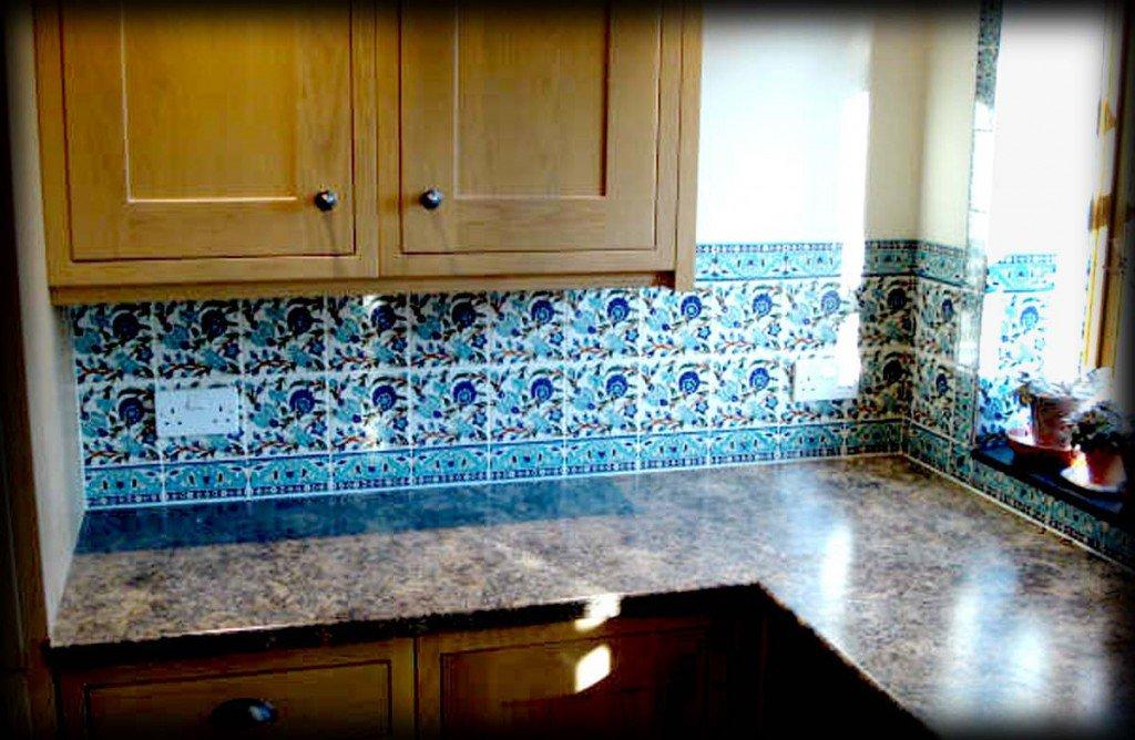 Blue Green Glass Tile Kitchen Backsplash