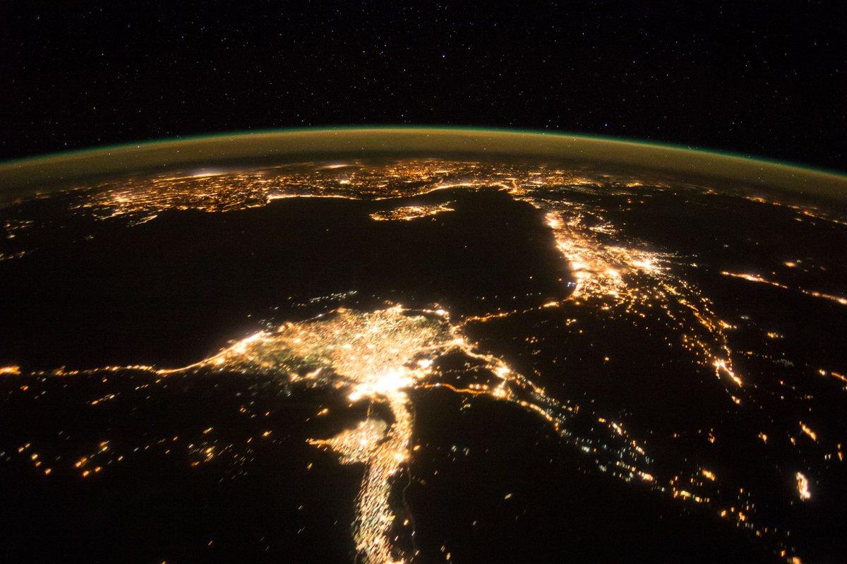 Die Erde Bei Nacht Hier östliches Mittelmeer Mit Nildelta