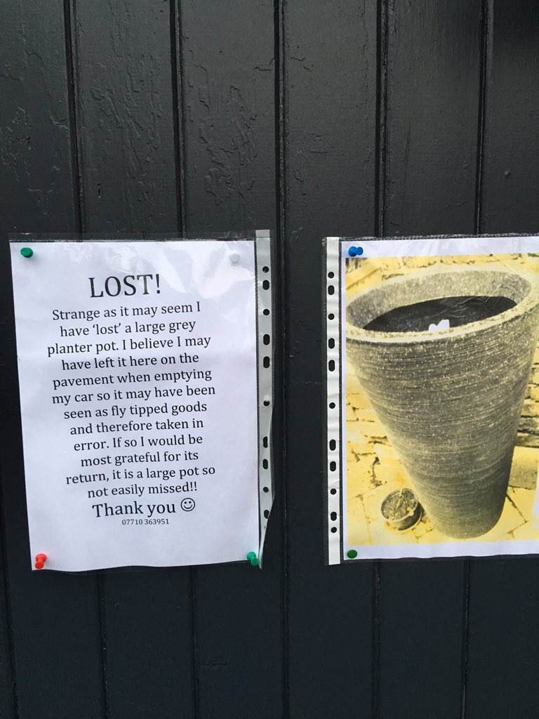 Someone lost a pot. Pls RT https://t.co/18KUfNEeHv