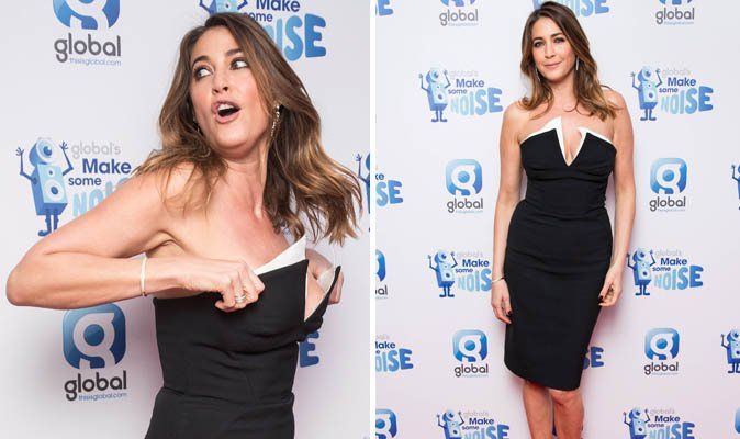 foto de lisa snowdon risksslip as her ample cleavage spills out of daringly low cut lbd