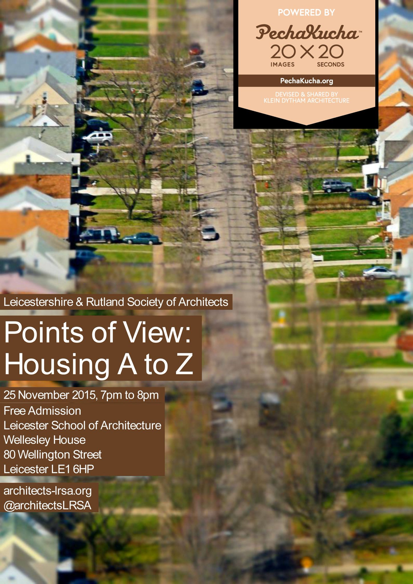 RT @DMUArchitecture: Don't miss tonight's #PechaKucha #Architecture event @dmuleicester POINTS OF VIEW: HOUSING A-Z. All welcome! https://t…