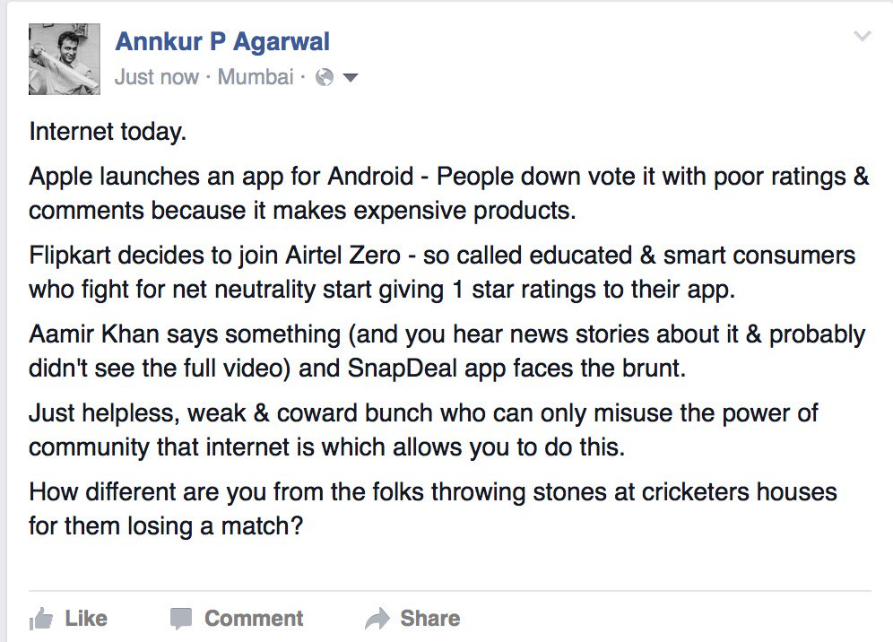 On Aamir, Flipkart, Snapdeal and Cowards. https://t.co/4cF2cimHwB