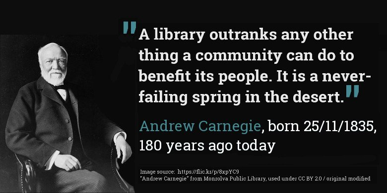Andrew Carnegie was born 25 November 1835, 180 years ago today! #AndrewCarnegie https://t.co/OvhO9vc4fc
