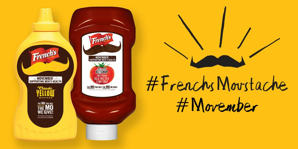 On #GivingTuesday these @Frenchs bottles are changing the face of men's health w/ $1 to #Movember #FrenchsMoustache https://t.co/TMCvFp78UM