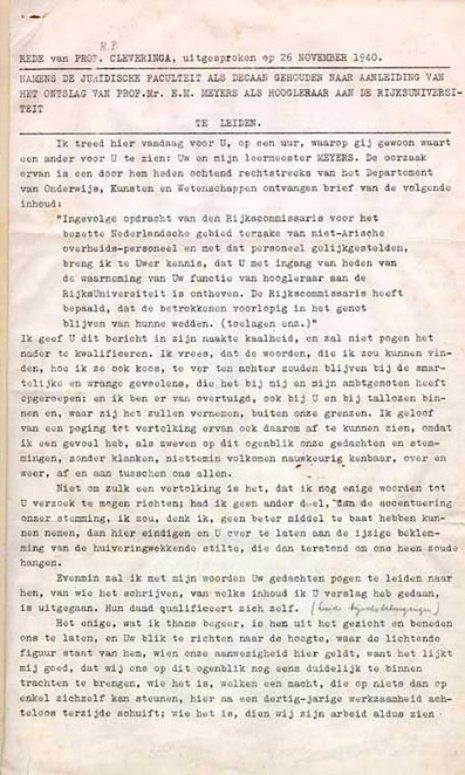 75 jaar geleden hield professor Cleveringa zijn protestrede aan de universiteit van Leiden https://t.co/D9LkGwMbmW https://t.co/xUJFET0pkD