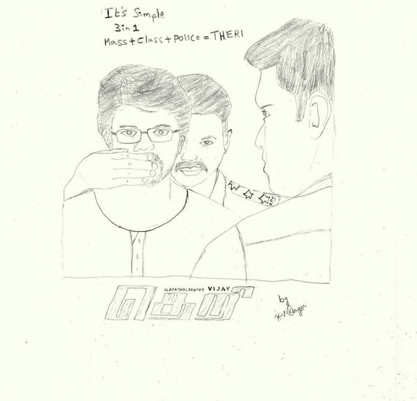 Thalapathi On Twitter Pencil Sketch For Theri Ilayathalapathy