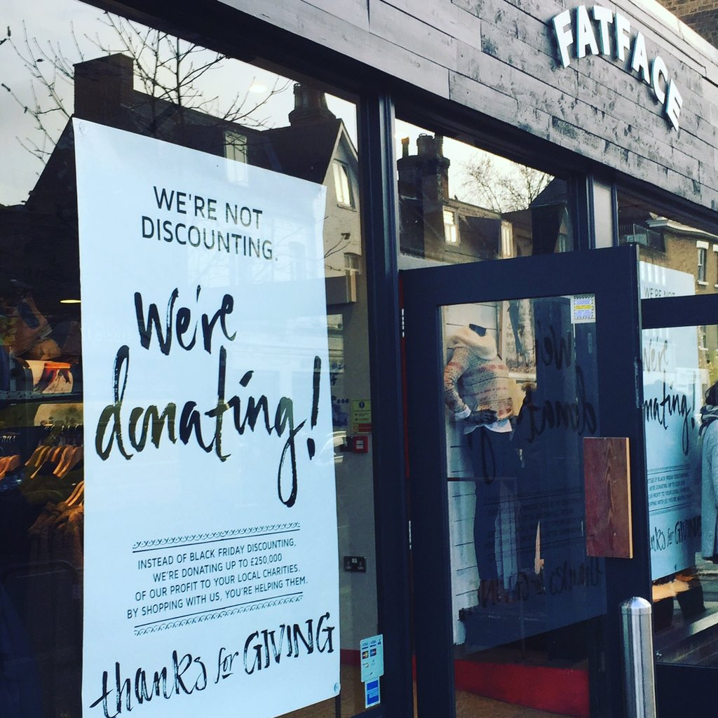 Refreshing idea from @FatFace to donate £250k of profits to local charities instead of discounting on #BlackFriday https://t.co/lSW51FAqmz