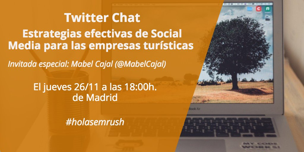 ¡En 90 minutos! No te pierdas el Twitter Chat de hoy con @MabelCajal #holasemrush Únete: https://t.co/K8b8gFs9J8 https://t.co/y21usvV2hJ