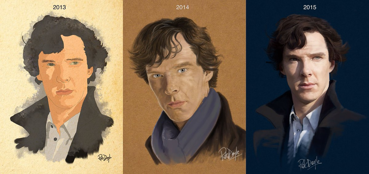 On the #anyonecanimproveatdrawing theme, here are my Sherlock portraits made with @procreateapp in the past 2 years. https://t.co/PKEVCbpvie