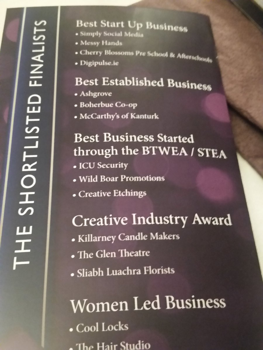 Proud to be on this list in my native beautiful duhallow ,Home of champions #DuhallowBizAwards https://t.co/EKEicVRPbn