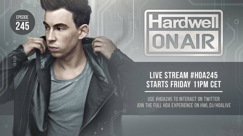 Fresh new music in @Hardwellonair tomorrow! #HOA245 https://t.co/PlNBwcM8Gj