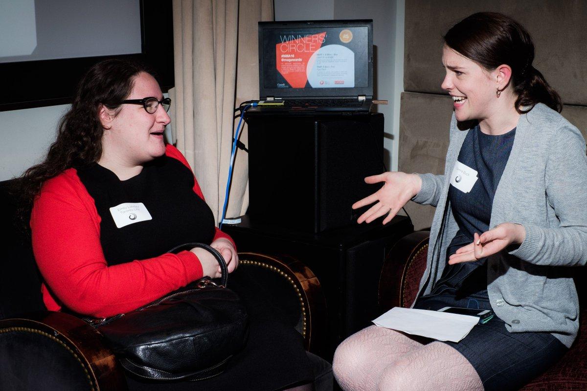 At our #FastPitch session, @torontolife editor @emilylandau chats with Best New Magazine Writer @genna_buck #NMA16 https://t.co/IrTjBRt0uK