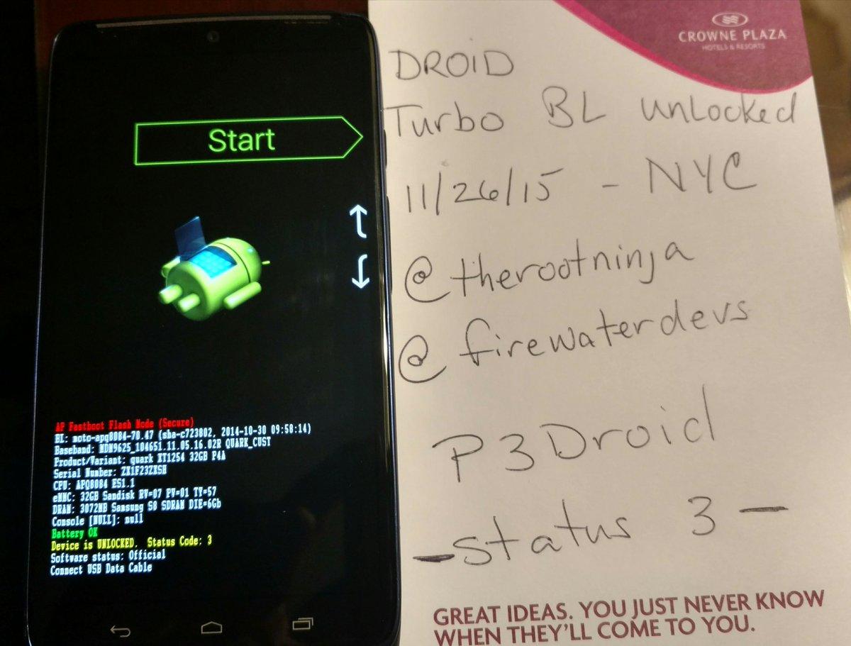 Thanks @therootninja @firewaterdevs @jcase Droid Turbo bootloader status 3, UNLOCKED!! https://t.co/UQ7zhOcv9X