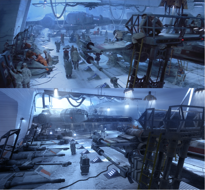 Awesome comparison shot showing how close the Hoth level in Star Wars Battlefront is to the actual movie. https://t.co/u7OVYo2H60