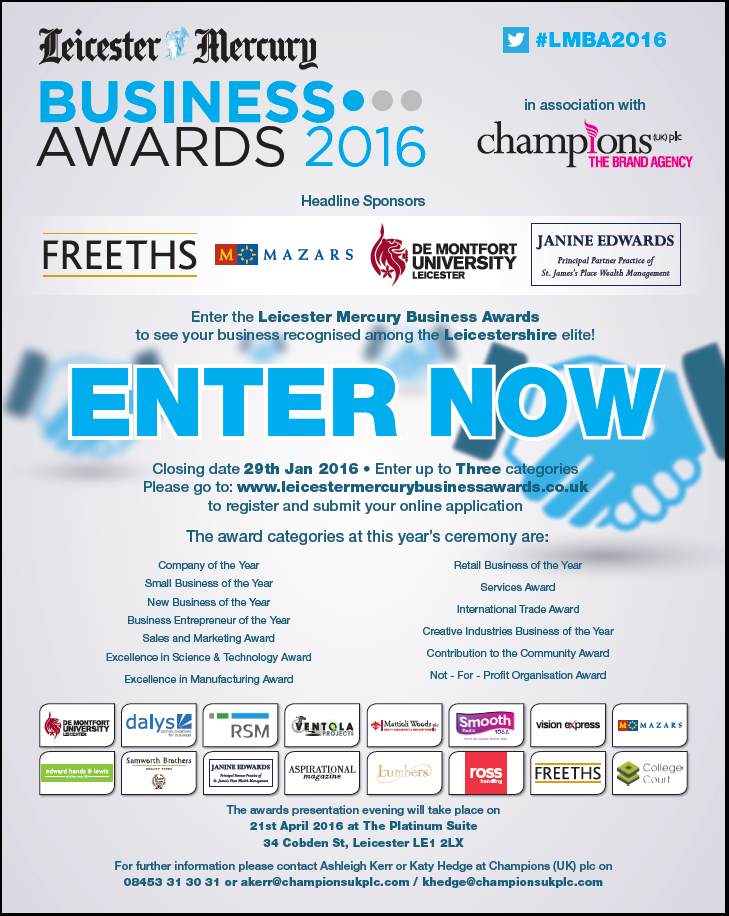 RT @Leicester_Merc: Enter the Leicester Mercury Business Awards now! #LMBA2016 https://t.co/gm6ldl2Net https://t.co/DQK9XQFeGt