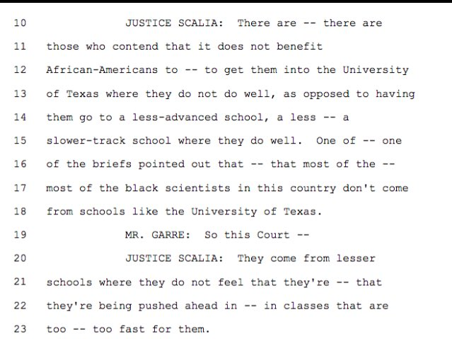 Justice Antonin Scalia Ignites Controversy With Statements About Black Students in High Court Affirmative Action Case